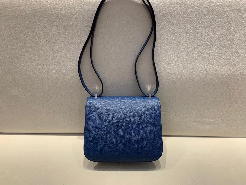 Hermès(爱马仕)Constance 空姐包 epsom S4 深邃蓝 18cm 银扣 顶级纯手工现货