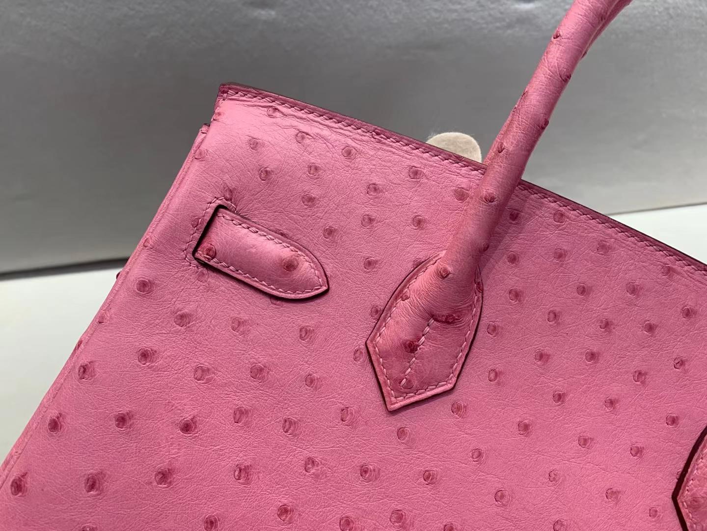 Hermès(爱马仕)birkin 铂金包 原厂鸵鸟皮 泡泡糖粉 L4 顶级纯手工 金扣 30cm