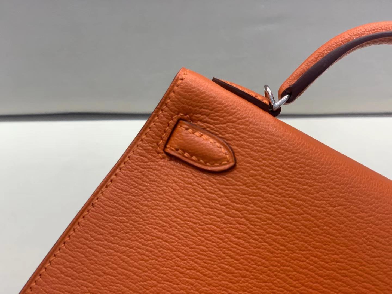 Hermès(爱马仕)miniKelly 迷你凯莉 山羊皮 火焰橙 9j 拼蔷薇粉 二代 银扣 顶级品质 现货
