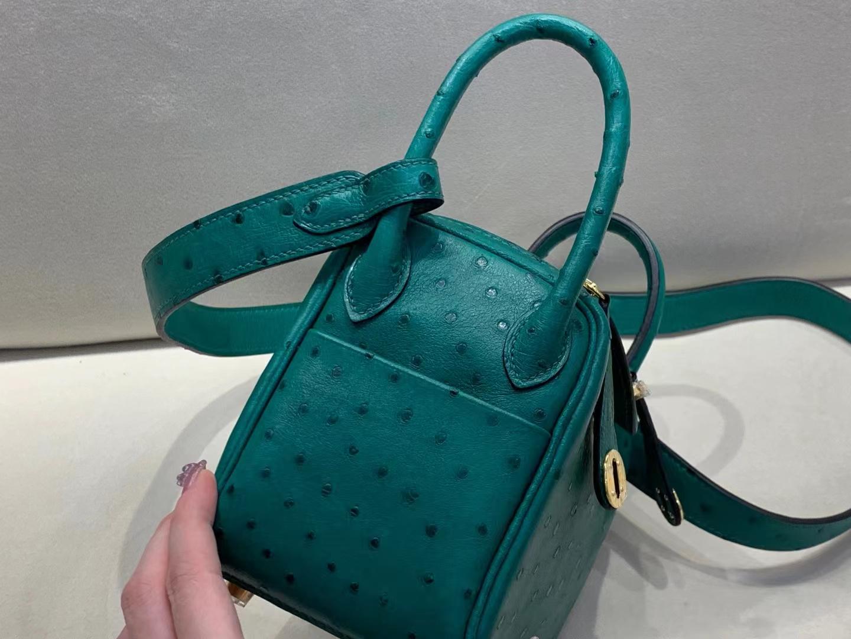 Hermès(爱马仕)mini Lindy 迷你琳迪 原厂鸵鸟 丝绒绿 金扣 19cm 顶级纯手工 客户订单