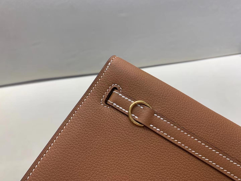 Hermès(爱马仕)Kelly Dance 跳舞包 evercolor ck37 金棕色 22cm 金扣 顶级品质 现货