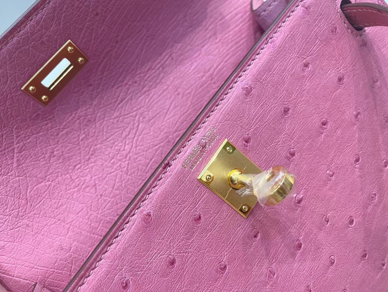 Hermès(爱马仕)Kelly dance 跳舞包 kk鸵鸟 L4 泡泡糖粉 金扣 22cm 现货