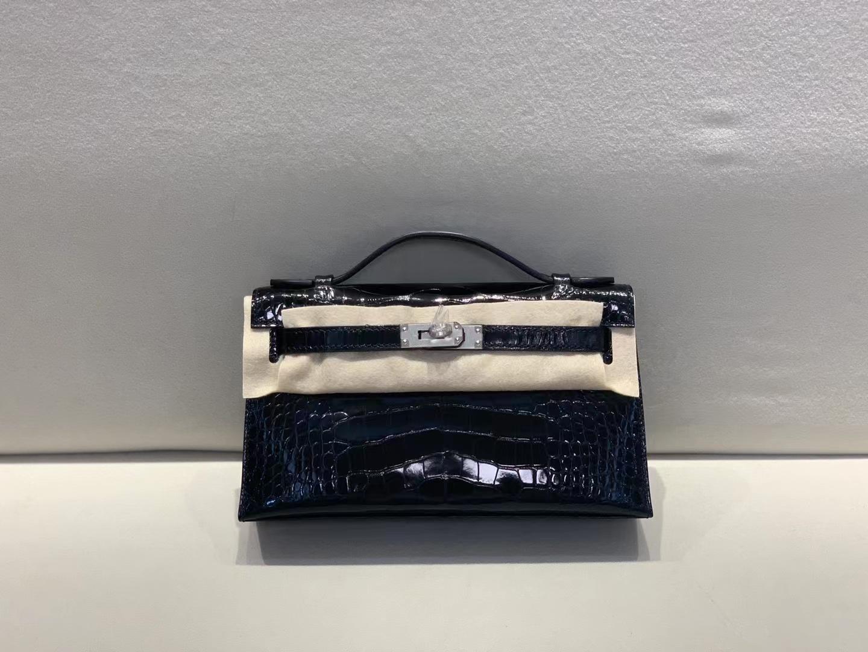 Hermès(爱马仕)miniKelly pochette 22cm 一代 银扣 鳄鱼 黑色 美洲方块 顶级纯手工 现货