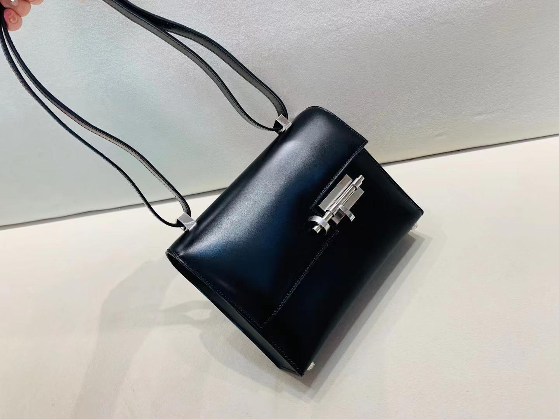 Hermès(爱马仕)Verrou 插销包 Asphalte 银扣 box皮 21cm 经典黑色 高端大气