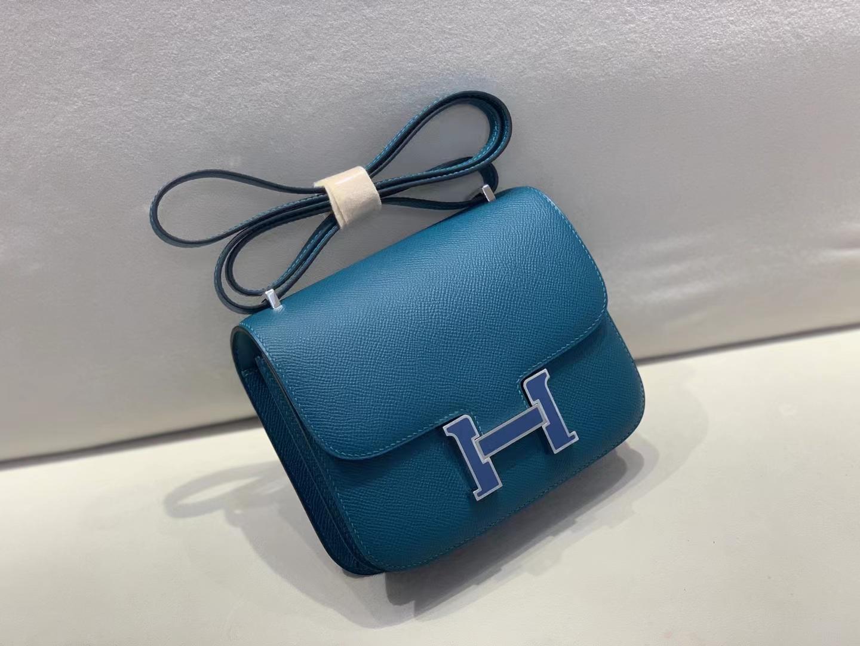 Hermès(爱马仕)Constance 空姐包 epsom W0 博斯普鲁斯海峡绿 珐琅扣 19cm 顶级品质