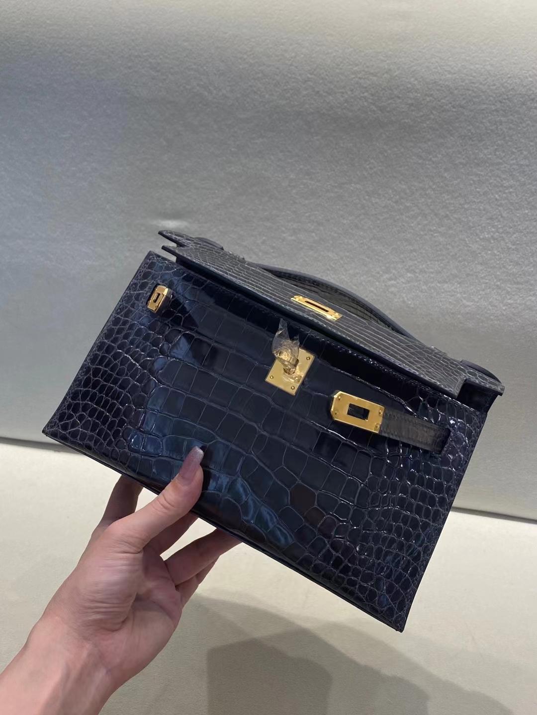 Hermès(爱马仕)miniKelly pochette 亮面鳄鱼 88 石墨灰 美洲方块 一代 金扣 22cm