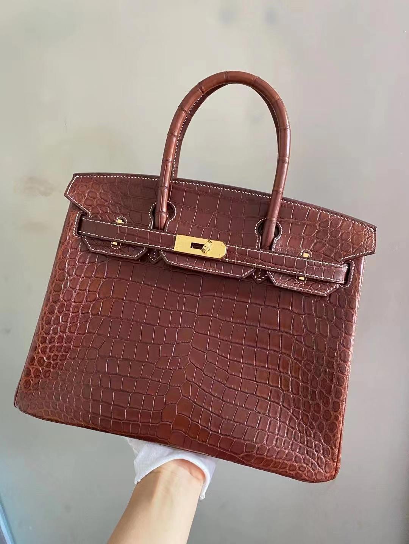 Hermès(爱马仕)birkin 铂金包 焦糖棕 雾面鳄鱼 尼罗 金扣 30cm 顶级品质现货