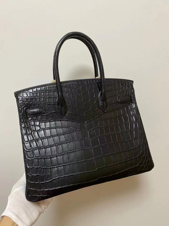 Hermès(爱马仕)birkin 铂金包 雾面鳄鱼 尼罗 黑色 银扣 25cm 顶级品质现货