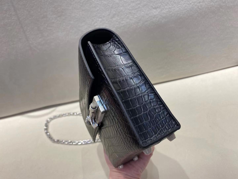 Hermès(爱马仕)Verrou Mini 机枪包 插销包 雾面鳄鱼美洲皮 黑色 银扣 17cm 顶级纯手工