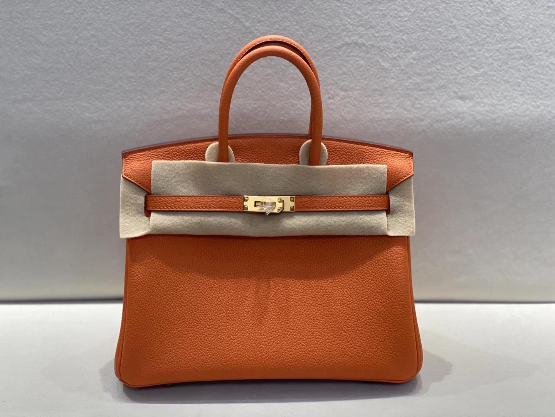 Hermès(爱马仕)birkin 铂金包 法国togo 93 橙色 金扣 25cm 顶级品质现货