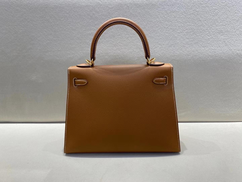 Hermès(爱马仕)Kelly 凯莉包 epsom ck37 金棕色 金扣 25cm 顶级品质 现货