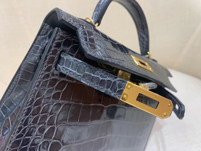 Hermès(爱马仕)MiniKelly 迷你凯莉 美洲亮面鳄 88 石墨灰 二代 金扣 顶级纯手工 现货