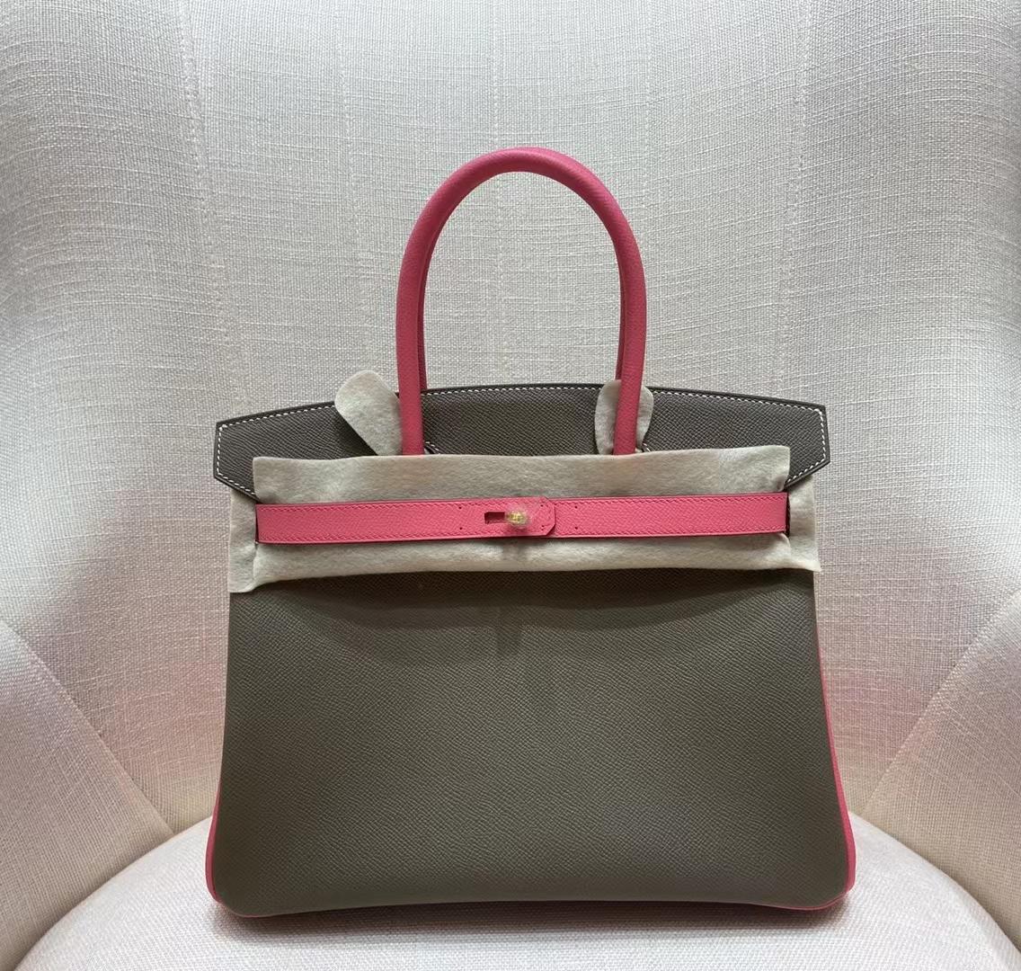 Hermès(爱马仕)birkin 铂金包 Epsom 大象灰拼唇膏粉 30cm 金扣 顶级纯手工 现货
