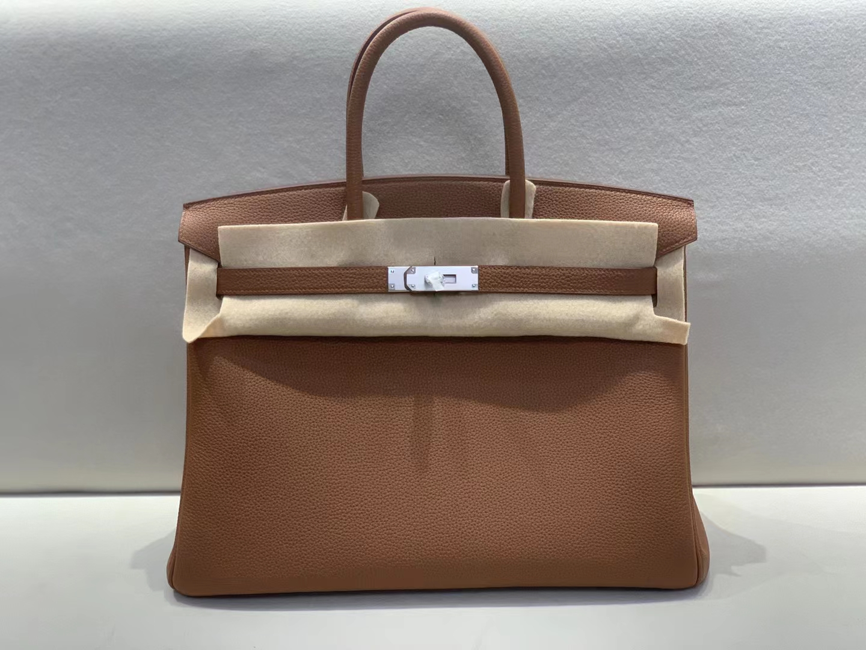 Hermès(爱马仕)Birkin 铂金包 togo 浅咖色 银扣 35cm 顶级纯手工