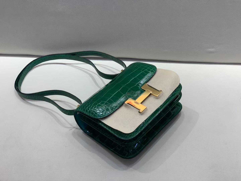 Hermès(爱马仕)Constance 康斯坦斯 美洲鳄 6Q 翡翠绿 金扣 19cm 顶级纯手工
