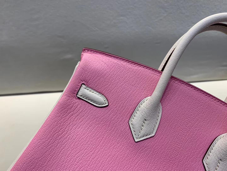 Hermès(爱马仕)Birkin 铂金包 Chever山羊皮 5P 樱花粉拼白色 25cm 金扣 顶级纯手工 现货