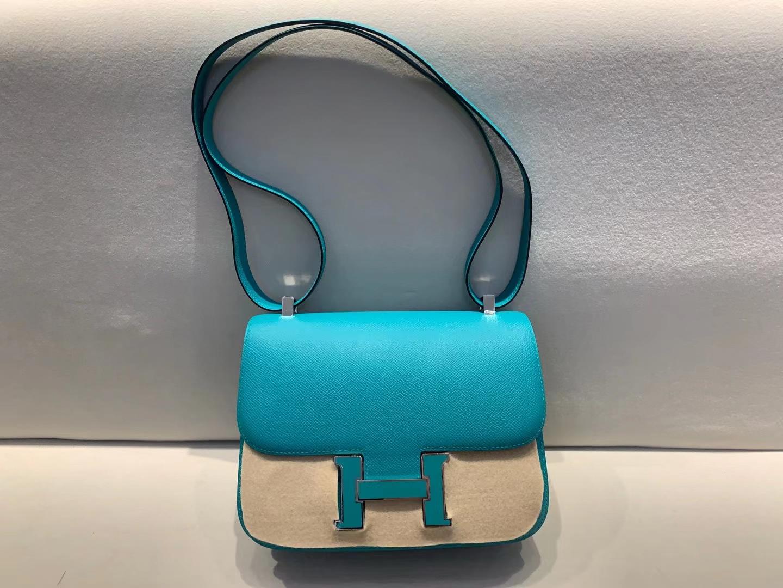Hermès(爱马仕)constance 空姐包 3i 牛油果绿 Wo 博斯普鲁斯海峡绿 7F 孔雀蓝 epsom 24cm