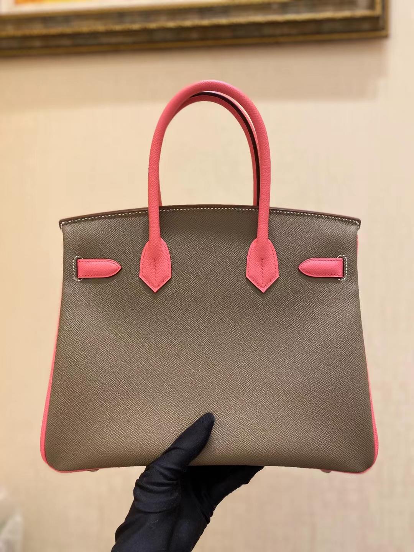 Hermès(爱马仕)birkin 铂金包 epsom 大象灰 拼 8W 唇膏粉 金扣 30cm 顶级纯手工 现货现货