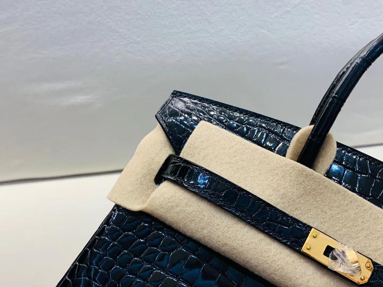 Hermès(爱马仕)Birkin 铂金包 亮面 hcp 法国湾鳄 黑色 金扣 25cm 顶级纯手工 现货