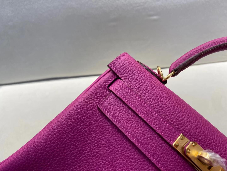 Hermès(爱马仕)Kelly 凯莉包 法国原厂togo皮 L3 玫瑰紫 金扣 25cm 顶级纯手工
