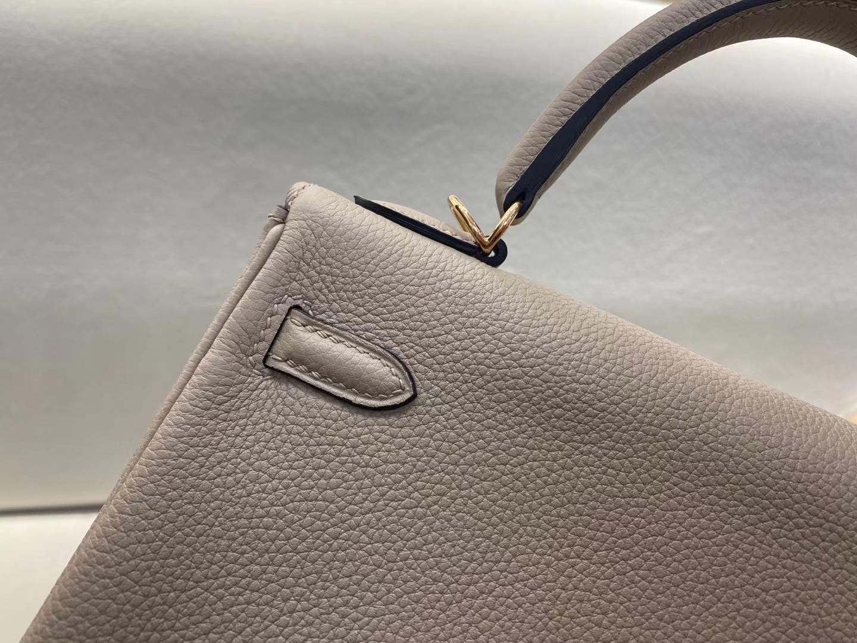 Hermès(爱马仕)Kelly 凯莉包 ck81 斑鸠灰 Togo小牛皮 玫瑰金扣 25cm 顶级纯手工