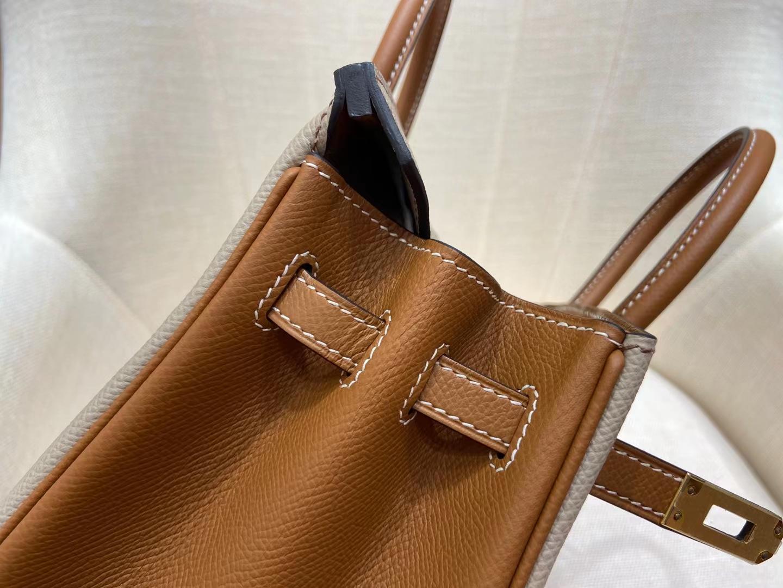 Hermès(爱马仕)Birkin 铂金包 Epsom S2 风衣灰 拼 金棕色 金扣 25cm 顶级纯手工 现货