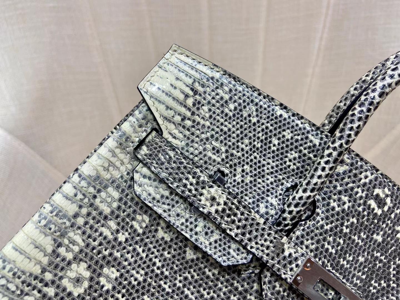 Hermès(爱马仕)Birkin 铂金包 雪花色 蜥蜴 银扣 25cm 顶级纯手工 现货