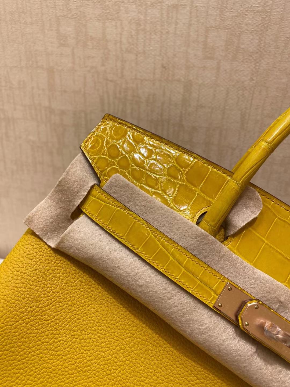 Hermès(爱马仕)Birkin touch 铂金包 9D 琥珀黄 Togo 拼 两点尼罗鳄 玫瑰金 25cm