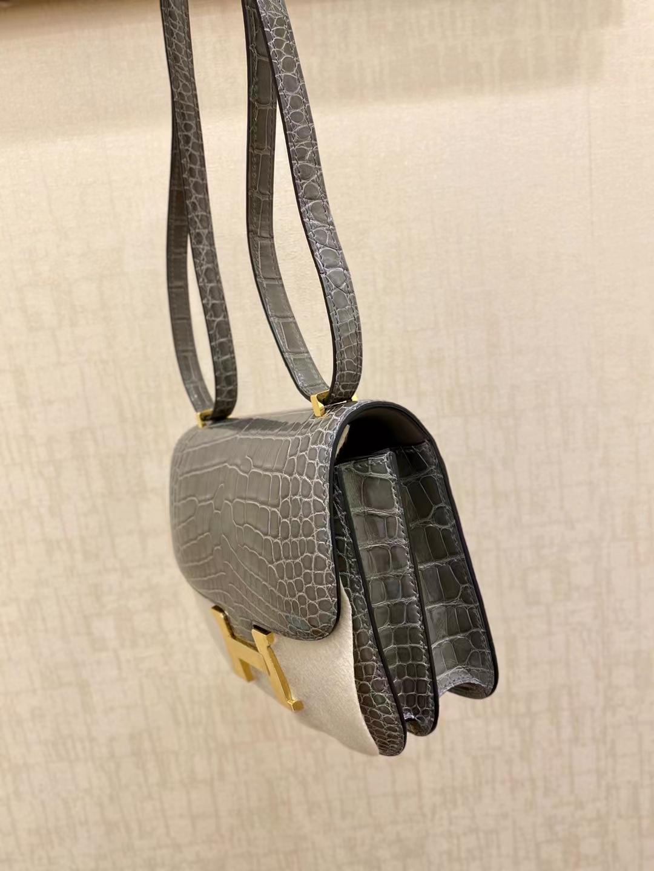 Hermès(爱马仕)Constance 康斯坦斯 鳄鱼皮 斑鸠灰 ck81 18cm 金扣 顶级纯手工 现货