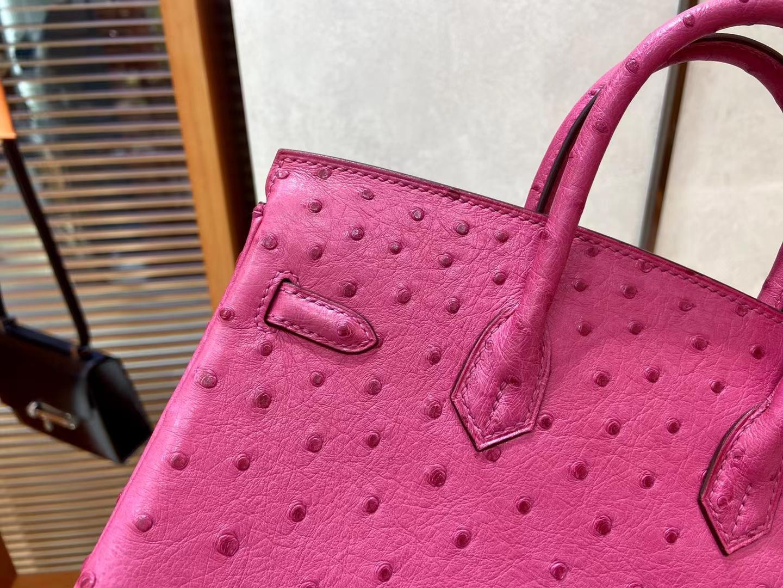 Hermès(爱马仕)Birkin 铂金包 KK鸵鸟 5J 桃红色 银扣 25cm 顶级纯手工