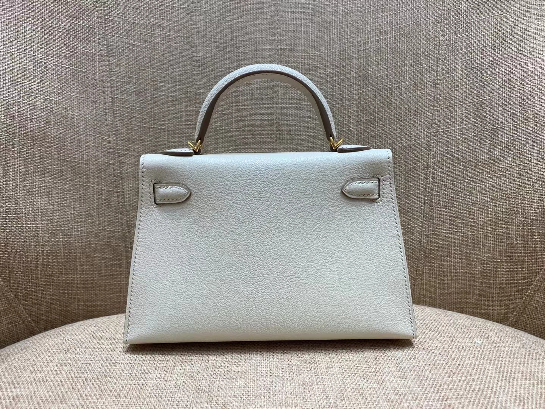 Hermès(爱马仕)miniKelly 迷你凯莉 10 奶昔白 Chever 山羊皮 金扣 二代 顶级纯手工