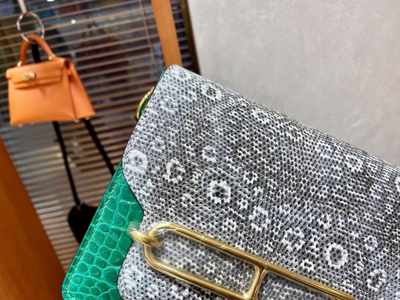 Hermès(爱马仕)Roulis 猪鼻子 翡翠绿 亮面鳄鱼 拼蜥蜴金扣 18cm 顶级纯手工