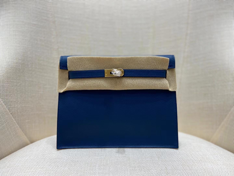 Hermès(爱马仕)Kelly danse 跳舞包 evercolor S4 深邃蓝 22cm 金扣 顶级纯手工 现货