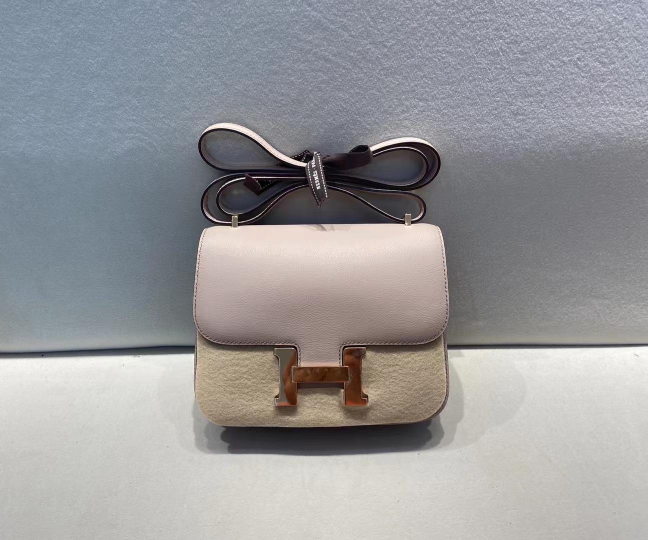 Hermès(爱马仕)Constance 空姐包 swift皮 P1 蔷薇粉 内拼 3Q 樱花粉 18cm 顶级品质
