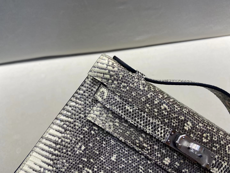 Hermès(爱马仕)mini Kelly pochette 迷你凯莉 雪花色 蜥蜴 银扣 一代 晚宴包 顶级纯手工