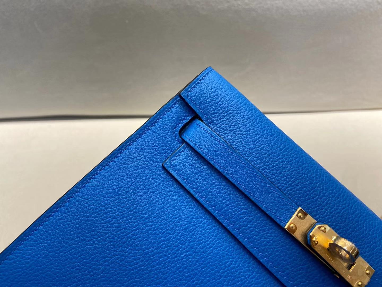 Hermès(爱马仕)Kelly danse 跳舞包 evercolor 0F 弗里达蓝 拼 墨西哥粉 22cm 金扣 顶级纯手工 现货