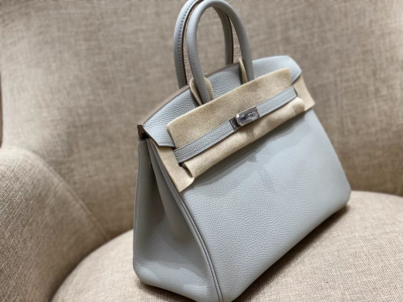 Hermès(爱马仕)Birkin 铂金包 80 珍珠灰 法国togo皮 银扣 25cm