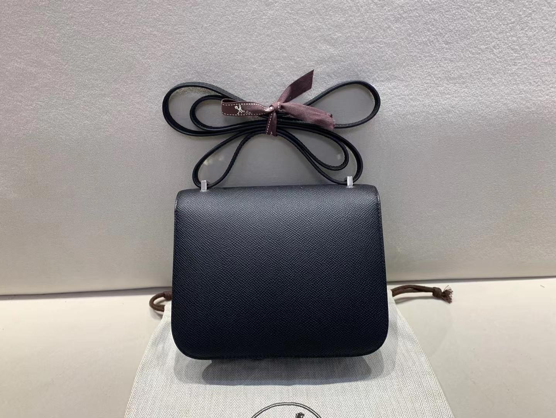 Hermès(爱马仕)Constance 空姐包 epsom ck89 黑色 银扣 19cm 顶级品质