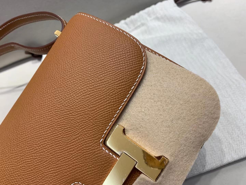 Hermès(爱马仕)Constance 空姐包 epsom ck37 金棕色 金扣 19cm 顶级品质