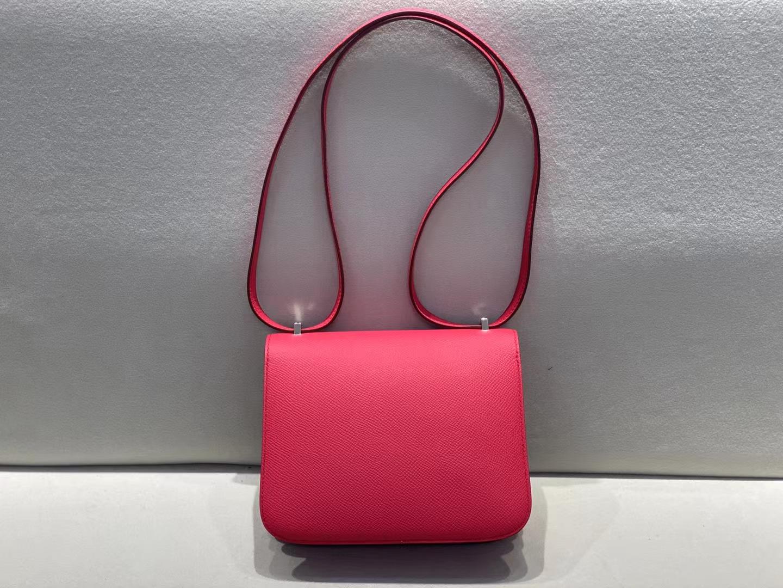 Hermès(爱马仕)Constance 空姐包 蜥蜴+鳄鱼 epsom 6i 极致粉 三拼扣 18cm 顶级品质