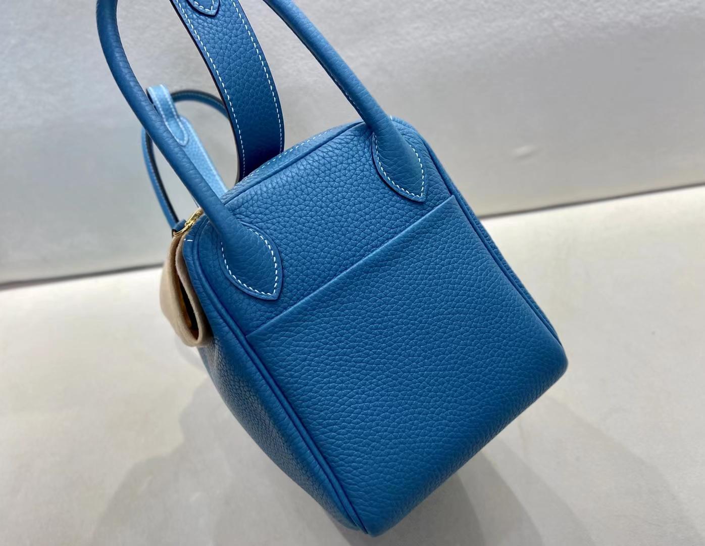 Hermès(爱马仕)Lindy 琳迪包 TC 牛仔蓝 26cm 金扣 顶级现货