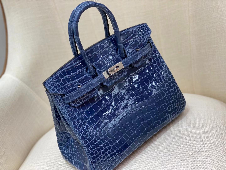 Hermès(爱马仕)Birkin 铂金包 野生湾鳄 亮面倒V鳄 进口HCP鳄鱼皮 Crocodile N7 风暴蓝 Blue 银扣 25cm