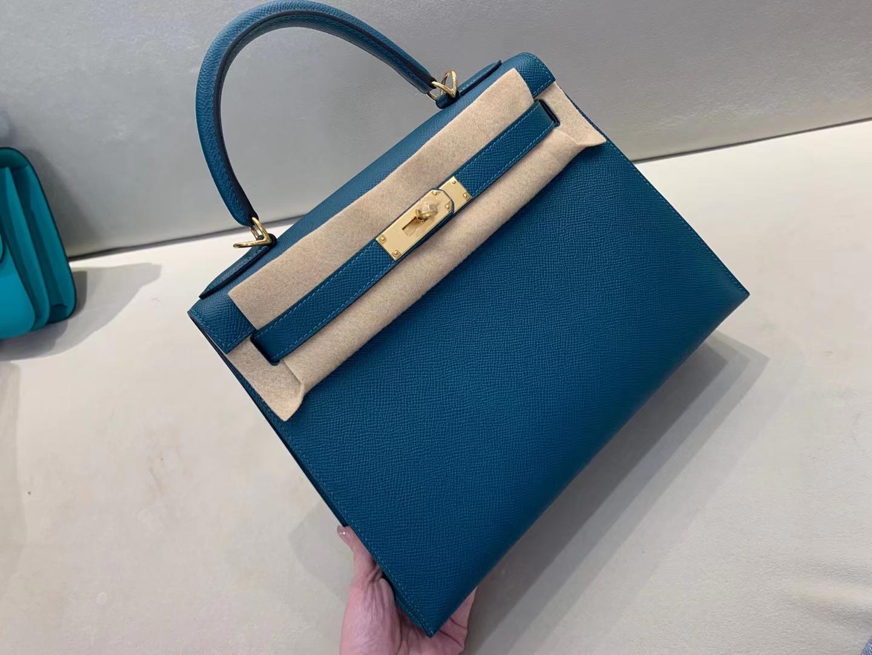 Hermès(爱马仕)Kelly 凯莉包 epsom W0 博斯普斯绿 金扣 28cm 金扣 顶级纯手工