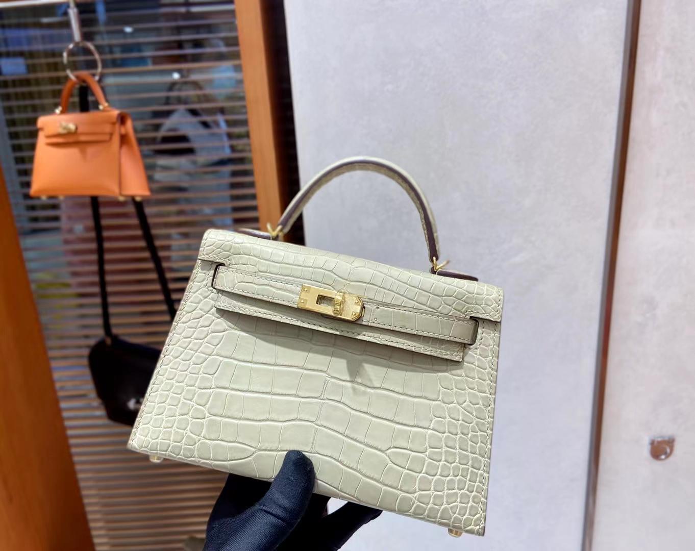 Hermès(爱马仕)MiniKelly 迷你凯莉 雾面鳄鱼 S2 风衣灰 金扣 二代 顶级纯手工 现货