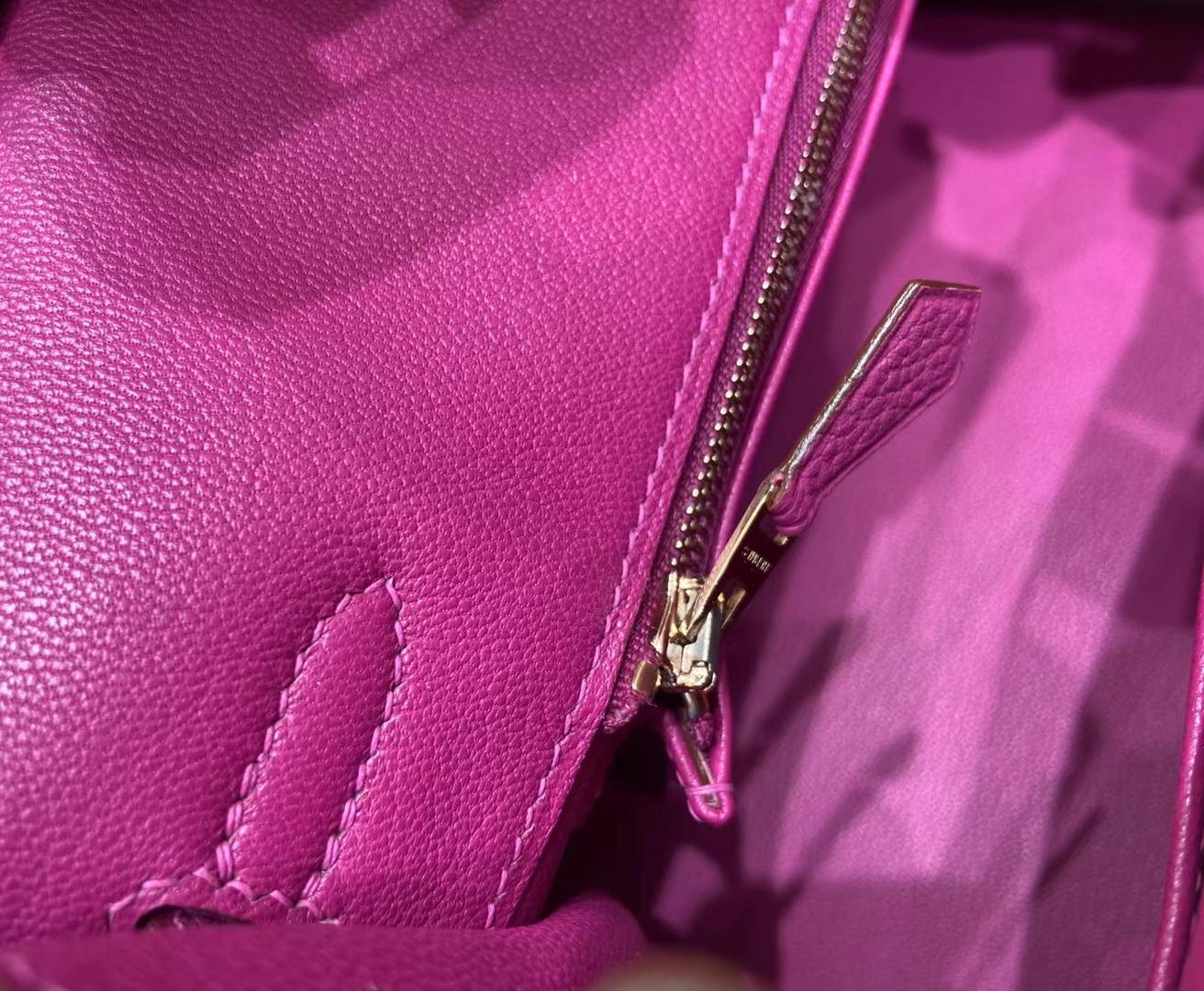 Hermès(爱马仕)Birkin 铂金包 法国togo 奶昔白 拼 玫瑰紫 金扣 25cm 顶级纯手工 现货