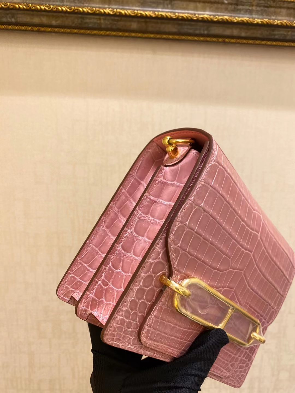 Hermès(爱马仕)roulis 猪鼻子 94 陶瓷粉 鳄鱼皮 18cm 金扣 顶级纯手工