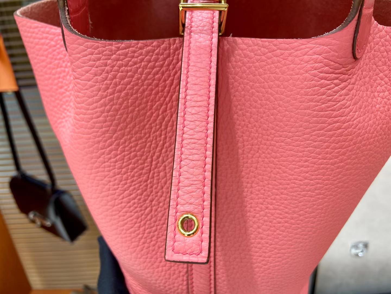 Hermès(爱马仕)Picotin 菜篮子 8W 唇膏粉 TC拼鳄鱼手柄 金扣 18cm 顶级纯手工
