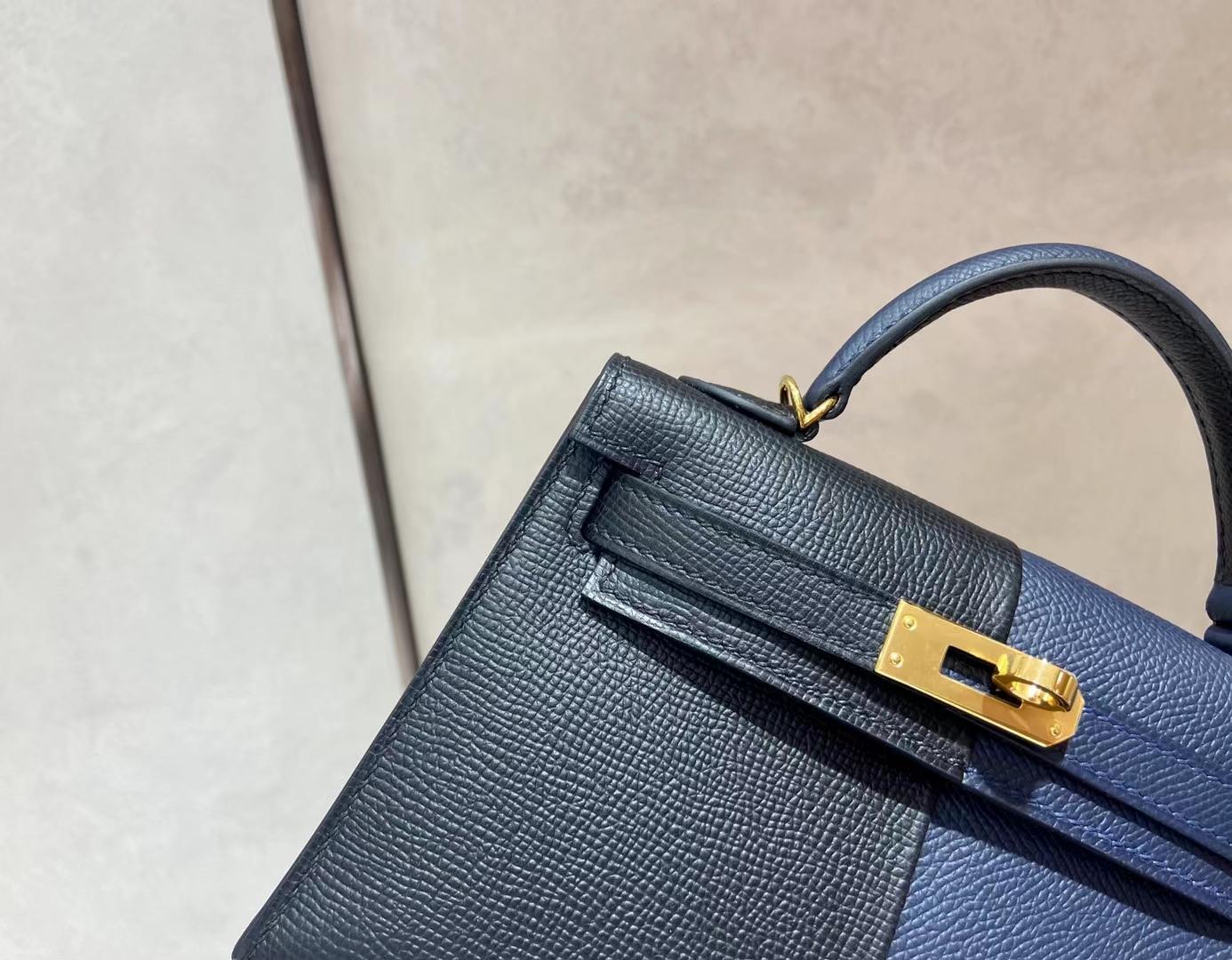 Hermès(爱马仕)miniKelly 迷你凯莉 epsom 89 黑色拼藏青色 二代 金扣 顶级纯手工 现货