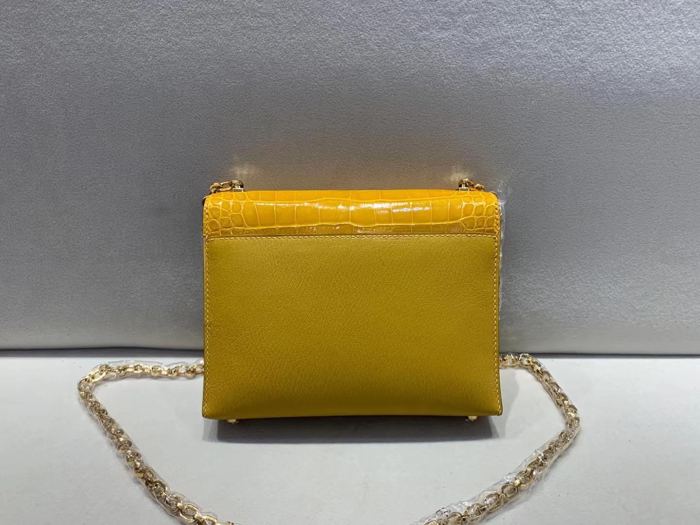 Hermès(爱马仕)Verrou Mini 手枪 插销包 9D 琥珀黄 亮面美洲方块+山羊皮 金扣 17cm 顶级品质