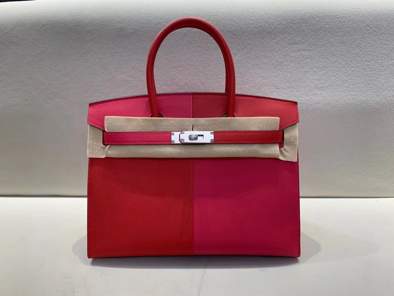 Hermès(爱马仕)Birkin 铂金包 新款 外缝 epsom S3 心红色 拼 i6 极致粉 内拼 B3 坦桑尼亚蓝 银扣 30cm